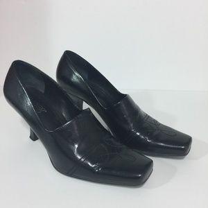 Franco Sarto Black Leather Heels Size 8 1/2